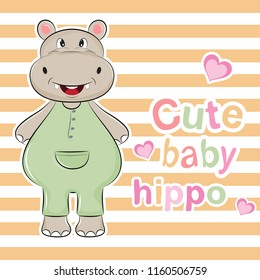 Lovely cute baby hippo in pink overalls. Fashion sweet hippopotamus with vest. Vector illustration for t-shirt, kids apparel design.
