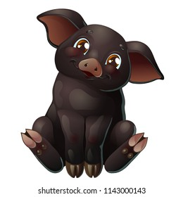 The lovely cute cheerful little black pig with brown eyes smile and sits. A cartoon vector illustration isolated on white.