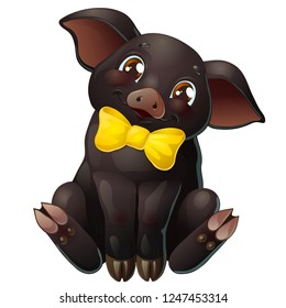 The lovely cute cheerful little black pig with yellow bow and brown eyes smile and sits. A cartoon vector illustration isolated on white.