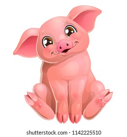 The lovely cute cheerful little pink pig with brown eyes smile and sits. A cartoon vector illustration isolated on white.