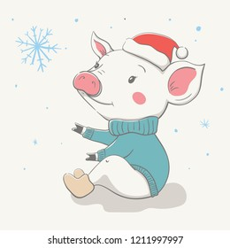 Lovely cute cheerful piggy sits in a red Christmas hat and jersey or pullover. Card with cartoon animal. Easy vector illustration
