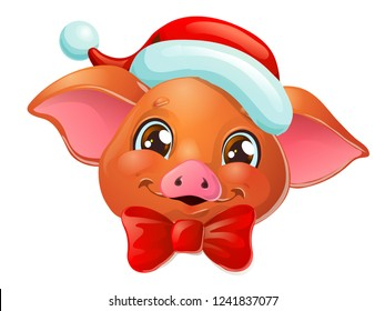The lovely cute cheerful red Duroc breed pig head with Santa Claus cap and bow, portrait. A cartoon vector illustration isolated on white.