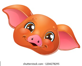 The lovely cute cheerful red pig head with browm eyes smile, portrait. A cartoon vector illustration isolated on white.