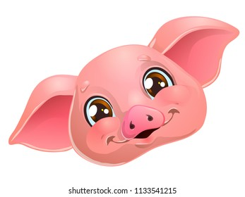 The lovely cute cheerful yellow pig head with browm eyes smile, portrait. A cartoon vector illustration isolated on white.