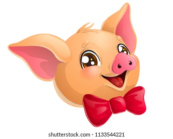 The lovely cute cheerful yellow pig head with red bow and browm eyes smile. A cartoon vector illustration isolated on white.