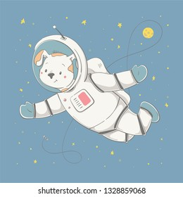 Lovely cute dog fling with the space station and the planet. Space series of children's card with cartoon style animal. Easy vector illustration