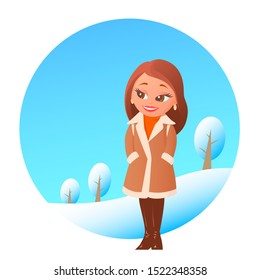 Lovely cute girl in a beige sheepskin coat. Shod in leather boots. In the background is winter nature with trees and snow. Vector cartoon illustration.