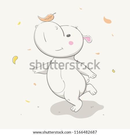 Lovely Cute Hippo Runs Leaf On Stock Vector Royalty Free