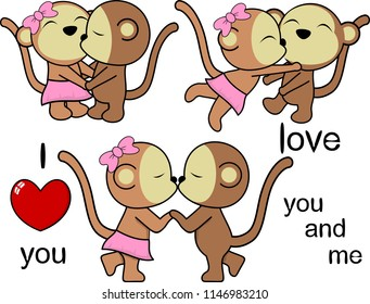 lovely cute monkey kissing cartoon love valentine set in vector format