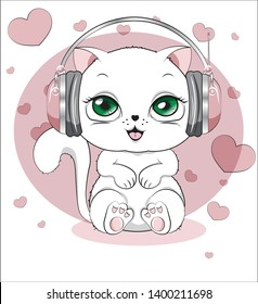 lovely cute white kitten, in an environment of hearts, on a white background with earphones, in pink headphones a white cat