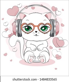 lovely cute white kitten, in an environment, headphones and glasses of hearts, on a white background with earphones, a white cat