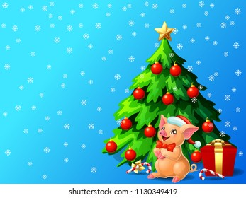 A lovely cute yellow pig with red bow and a fir-tree with spheres and star, a Candy cane and gift box on blue with snowflakers. A vector illustration in cartoon style, horizontal