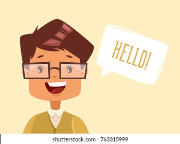 Lovely dark-haired guy with glasses says hello. Vector cartoon illustration. Character. Portrait