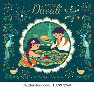 Lovely Diwali illustration with children drawing rangoli scene, suspicious peacock and vine decorative frames on dark green background