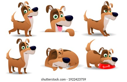 Lovely dogs with different personalities and postures. Puppy in cartoon style, isolated on white background. A cute pet pet in everyday routine. Vector illustration