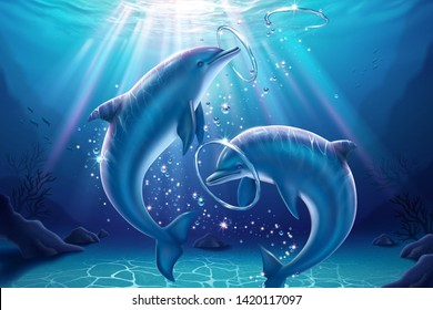 Lovely dolphin blowing bubble rings and playing together in 3d illustration