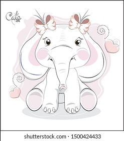 the lovely drawn baby elephant calf, with bow. Happy birthday card. The picture in hand drawing style, can be used for t-shirt print, wear fashion design, greeting card, baby shower invitation