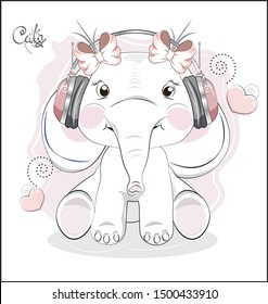 the lovely drawn baby elephant calf, with bow, elephant in earphones. headphones. The picture in hand drawing style, can be used for t-shirt print, wear fashion design, greeting card, baby shower