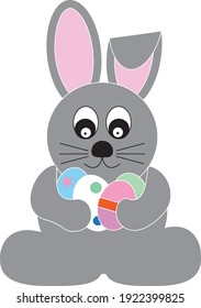 Lovely easter bunny vector illustration, hand drawn rabbit face. Greeting card with Easter holiday.