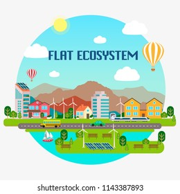 Lovely ecosystem concept with flat design
