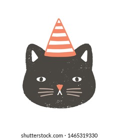 Lovely face or head of cat wearing party hat for birthday celebration. Funny cartoon muzzle of pussycat isolated on white background. Childish vector illustration in flat style for kids t-shirt print.