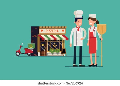 Lovely family business concept illustration with adult couple standing in front of their Italian food restaurant. Pizzeria owners standing with restaurant on background. Adult restaurateurs standing