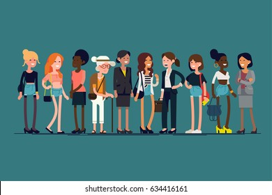Lovely flat design illustration on diverse women line-up. Group of women standing smiling. Large group of female characters of different ages, skin color and outfit style together. Girls community