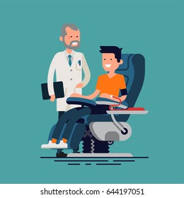 Lovely flat design illustration on blood donation with medicine doctor standing next to patient blood donor sitting in armchair