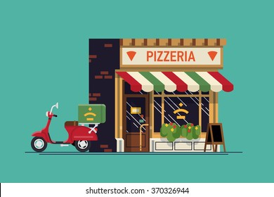 Lovely flat design Italian food restaurant with delivery scooter. Vector cartoon pizzeria location background