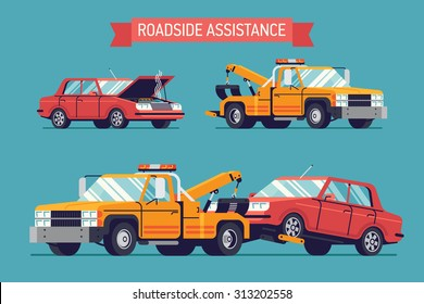 Lovely flat design road assistance illustration with wrecked car standing with opened hood and smoke and yellow crane towing wrecker truck