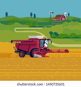 Lovely flat design vector illustration on farming and agriculture with combine harvester harvesting grain crops. Arable field scenery with heavy machinery, red barn and green fields on background