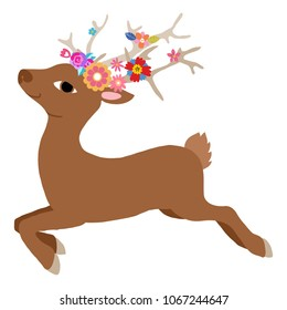 Lovely flat vector illustration of the baby deer jumping and running. With flowers in the head and horns.