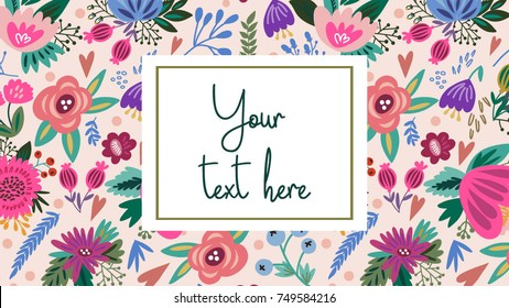 Lovely floral background. Adorable design template.