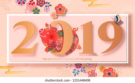 Lovely floral piggy jumps through number 2019 to celebrate new year's coming, paper art style