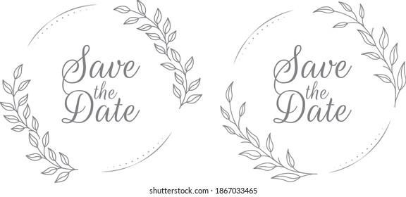lovely floral wedding badges illustration and floral wreath