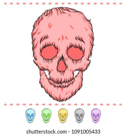 Lovely fluffy skull. Set of different colors.