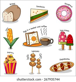 Lovely Food Doodle With Vocabulary of Each  Illustration, Vector