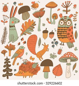 Lovely forest set with lovely wild animals : rabbit, deer, hedgehog, squirrel, owl and birds. Stylish natural background with birds and animals in trees, mushrooms, leafs and insects in autumn colors