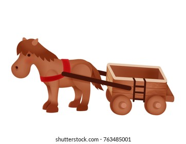 lovely friendly horse drawn wooden cart, adorable pony with wagon, sweet , kawaii carriage horse , girly farm horse in Japanese childlike manga cartoon isolated on white - vector file eps10