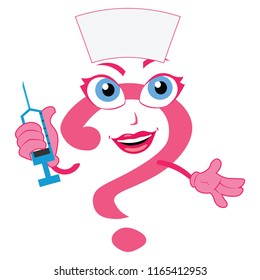 Lovely funny question mark nurse character doctor physician sexy girl lady woman  health care clinic medical service
