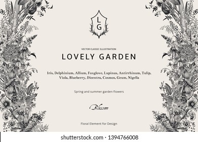 Lovely Garden. Vector horizontal card. Vintage floral elements. Spring and summer garden flowers. Black and white