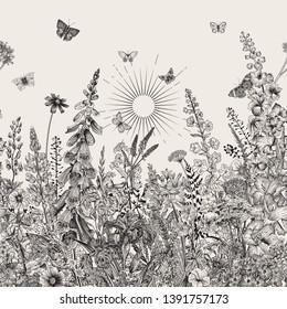 Lovely Garden. Vintage illustration. Spring and summer garden flowers. Black and white