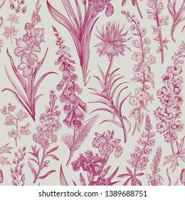 Lovely Garden. Vintage seamless pattern. Spring and summer garden flowers. Wine and white. Toile de Jouy.