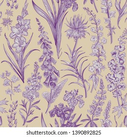 Lovely Garden. Vintage seamless pattern. Spring and summer garden flowers. Beige and purple. Toile de Jouy.