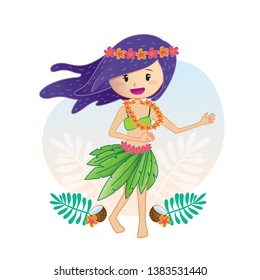 Lovely girl dancing in a Hawaiian style dress, Aloha girl with a Hawaiian dress decorated with flowers.