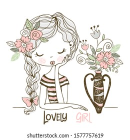Lovely girl with flowers in a vase. Vector. Doodle style.
