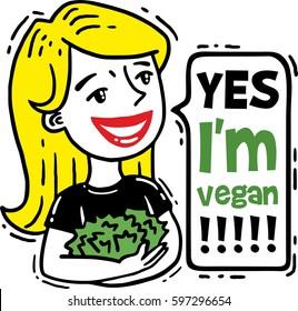 lovely girl holding a lettuce yes I am vegan