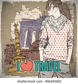 Lovely girl in sketch-style on a germany background. Vector illustration