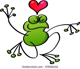Lovely green frog showing a red heart above its head, extending its arms and bending its right leg for kneeling while keeping balance and feeling proudly in love