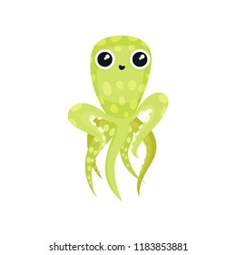 Lovely green octopus with long tentacles. Marine animal with big shiny eyes. Sea creature. Flat vector icon